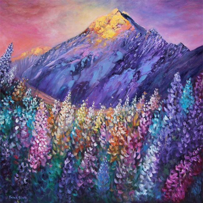 Mt Cook Lupins - By Helen blair http://shop.helenblairsart.co.nz
