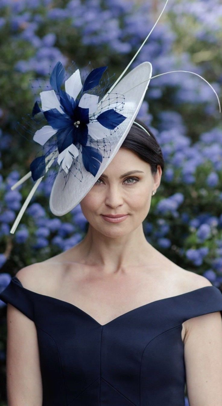Nigel Rayment Navy Ivory Mother of the Bride Saucer Hat in Ivory with  Feathers Flower arrangement. Great for a spring or summer Mother of th… f643c0390967