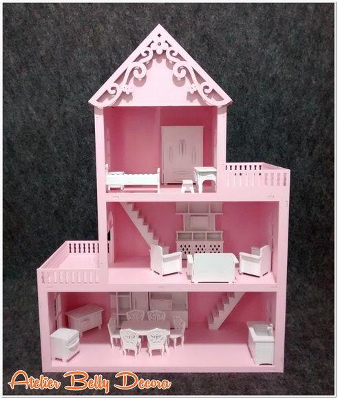 Casa Boneca MDF Pintado Brinquedo Móveis