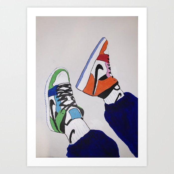 Sneaker Colorful Air Jordan 1 S Art Print By Sneakerhead23 X Small Mini Canvas Art Canvas Art Painting Small Canvas Art