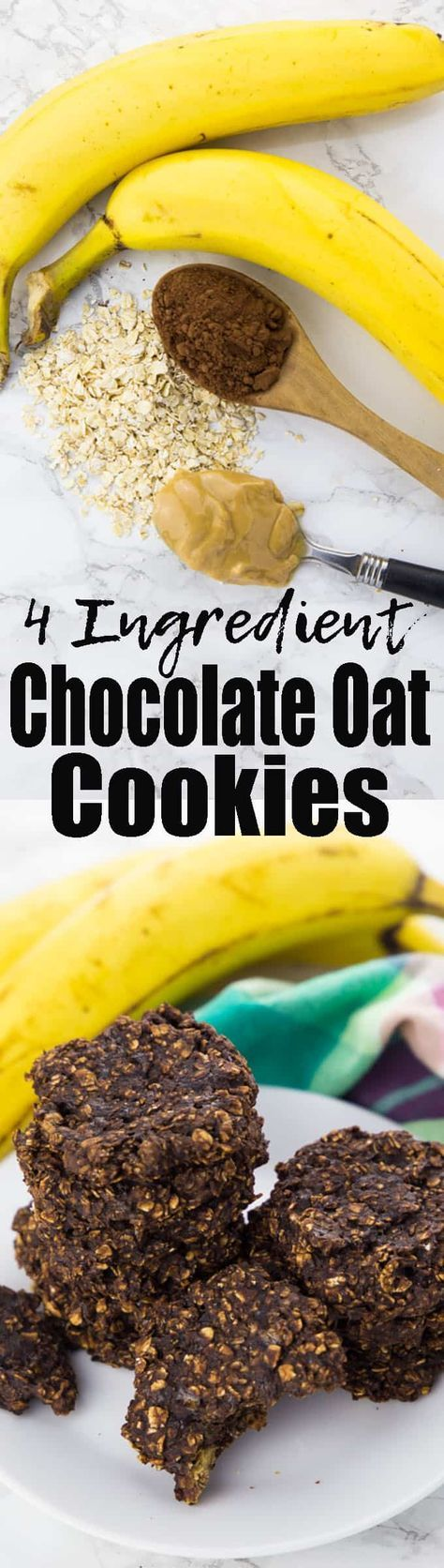 These banana chocolate oatmeal cookies are one of my favorites vegan snacks or cookie recipes in general! You need only 4 ingredients and the recipe seriously couldn't be easier! Find more vegan desserts and vegan cookies at veganheaven.org!