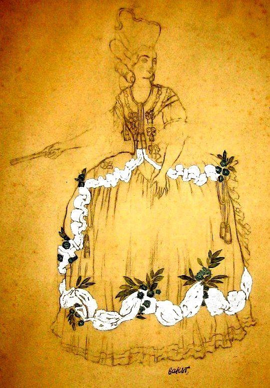 "Costume design (1921), by Léon Bakst [Левъ Самуиловичъ Бакстъ] (1866-1924), for ""Sleeping Beauty"" [Спящая Красавица] (1889), by Pyotr Tchaikovsky [Петръ Ильичъ Чайковскiй] (1840-1893)."