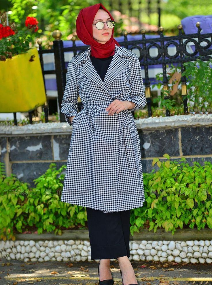 Black - Beige - Fully Lined - Topcoat - İnşirah