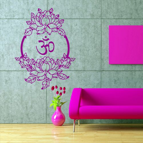 Wall decal art decor decals sticker Buddhism India Indian circle Buddha OM Yoga flower lotus cleanliness (m152)