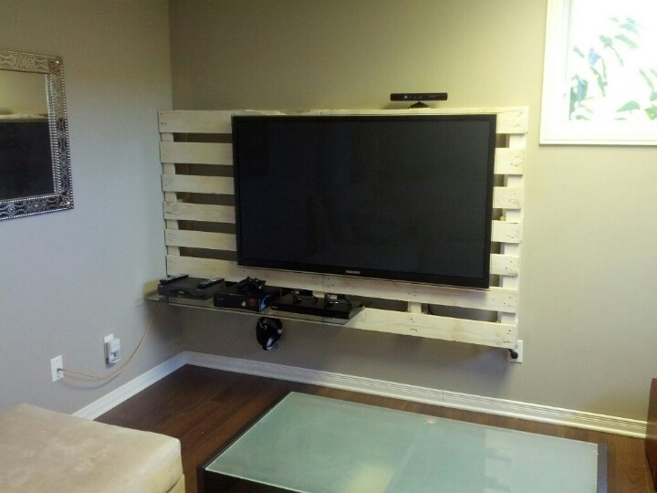 Pallet Tv Wall Unit Diy House Pinterest Pallet Ideas
