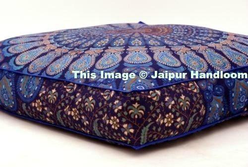 Elephant Mandala Floor Pillow Square Cushion Cover Large Ottoman Pouf Pet Bed