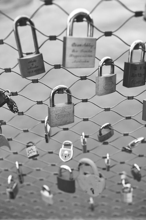 Love locks bridge, Paris --Typically the lovers' names or initials are inscribed on the padlock, and its key is thrown away to symbolize unbreakable love.