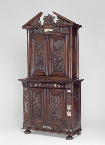 """1620 French Meuble à deux corps at the Philadelphia Museum of Art, Philadelphia - From the curators' comments: """"The French name for this cabinet means """"a piece of furniture with two bodies;"""" separate cupboards with locking doors are set one above the other....The design and ornament of the cabinet relate to the mid-sixteenth-century decoration of the palace of Fontainebleau, near Paris, which remained influential to later generations of artists."""""""