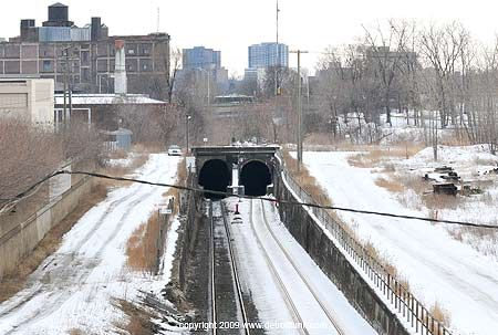 Michigan Central Station | This is the original Detroit / Windsor tunnel – the Michigan Central Railway Tunnel, opened in 1910. Many people dont even know its there, but it passes behind Michigan Central Station, and submerges before you get to Fort Street.