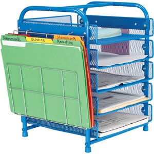 Desktop Classroom-Papers Organizer™ With Two Wire Works™ Paper Holders: You could use the baskets for assignment turn-in. Store work for students who are absent in the file folders, organized by day of the week.