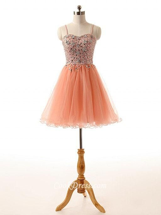 Coral #Spaghetti Strap Beaded Tulle #Sleeveless #Cocktail Dress