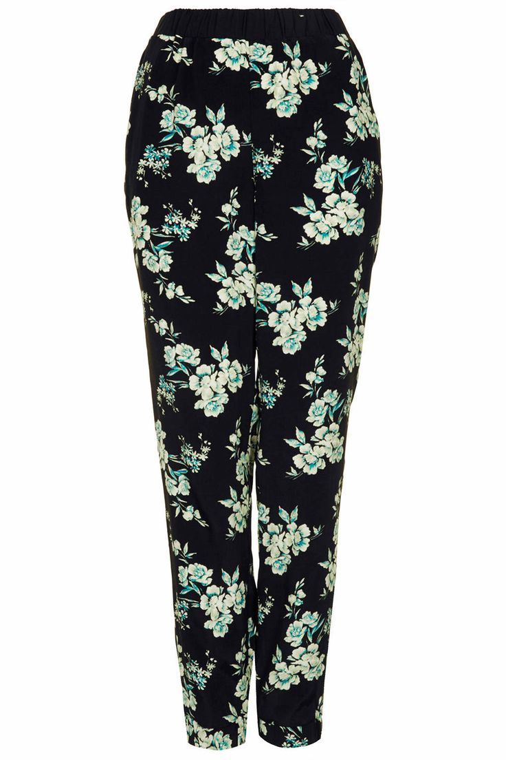 Topshop Dark Floral Woven Joggers