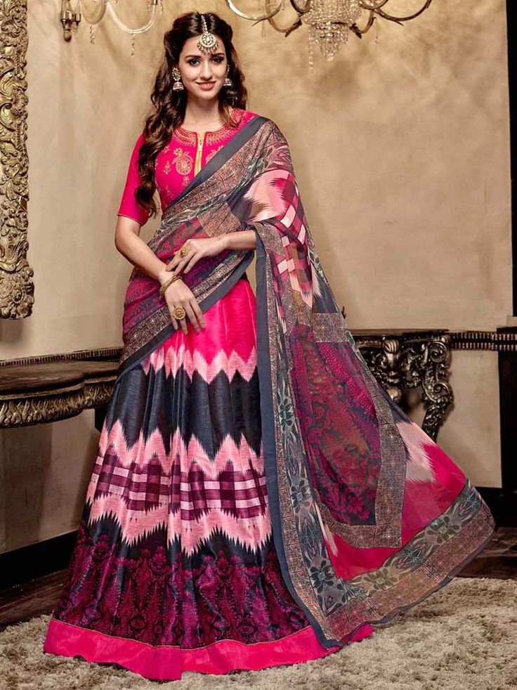 Disha Patani In Printed Lehenga with matching blouse and dupatta. Item Code: GYNF23366 http://www.bharatplaza.com/celebrity/disha-patani.html