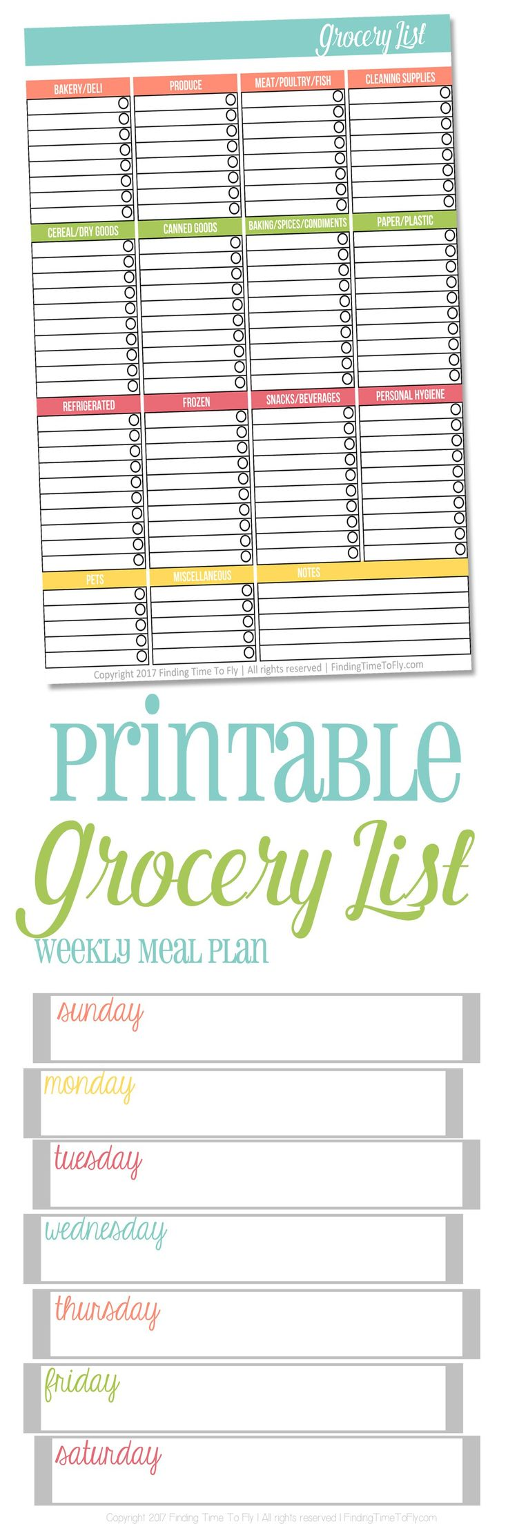 This free Printable Grocery List helps you stay organized and spend less time in the grocery store. There are also matching Meal Planning sheets! And they're available in half sizes for the mini binders!
