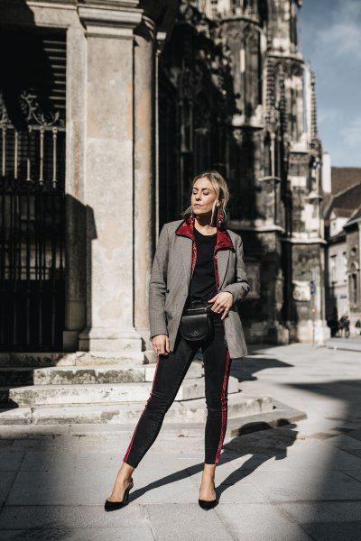 Modern ways to wear blazers: grey blazer with red and black pants