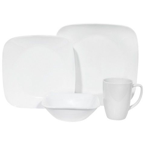 These are durable and neutral dishes that don't cost too much. Perhaps we could replace the dishes with these? Corelle 16 Piece Square Dinnerware Set - Pure White