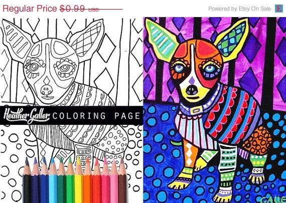 50 off diy chihuahua instant dog coloring book page art digital download print heather