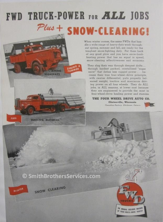 old fwd truck ad old snow plows plow trucks pinterest snow plow. Black Bedroom Furniture Sets. Home Design Ideas