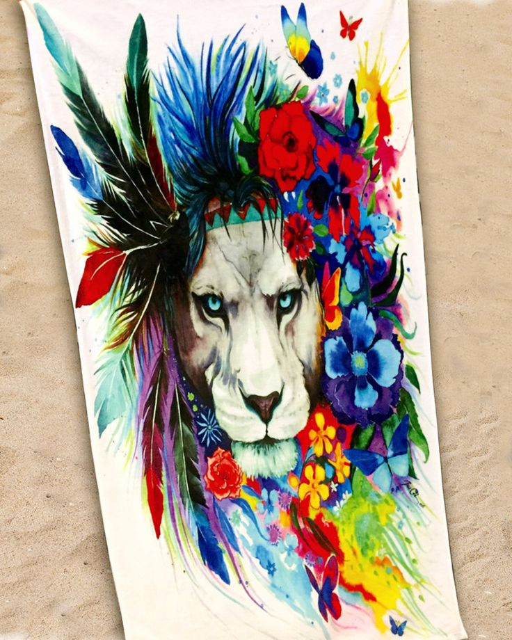 King of Lions Beach Towel