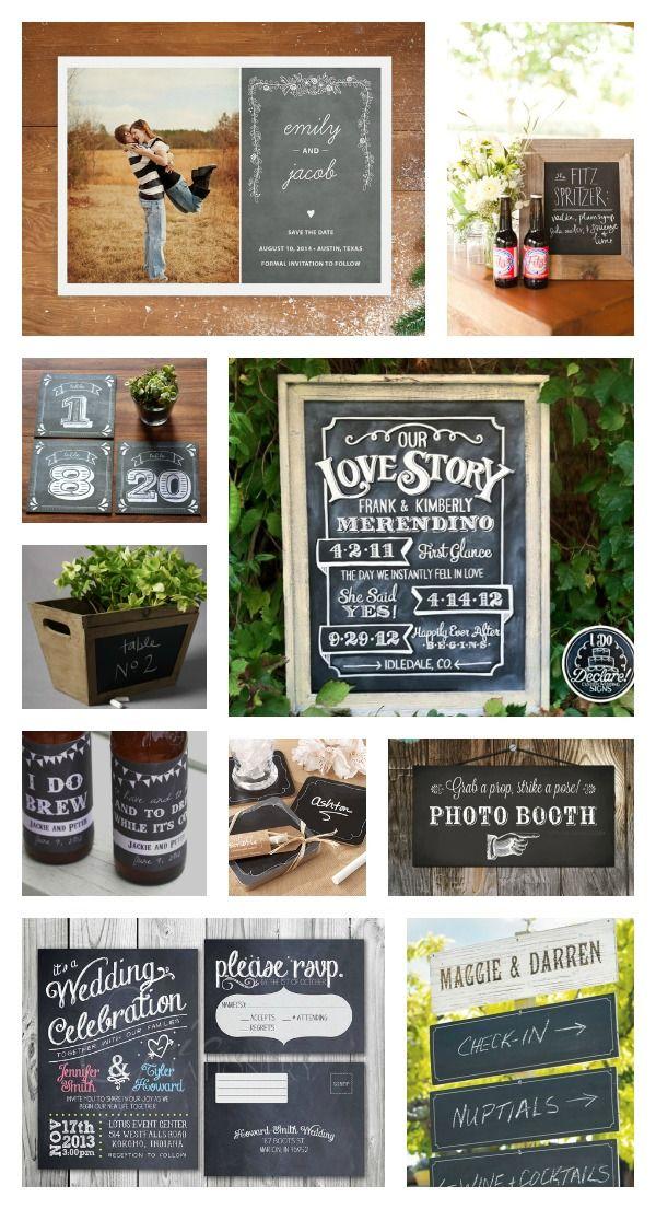 chalk board wedding signs ideas   Rustic Chalkboard Wedding Ideas   Woodsy Weddings