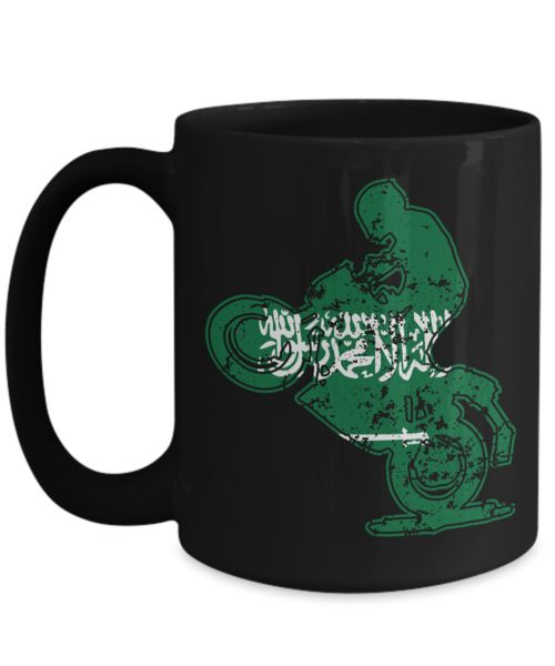 Shirt White Saudi Arabia Flag Vintage Drift on a Bicycle Funny Coffee Mug 15oz Black
