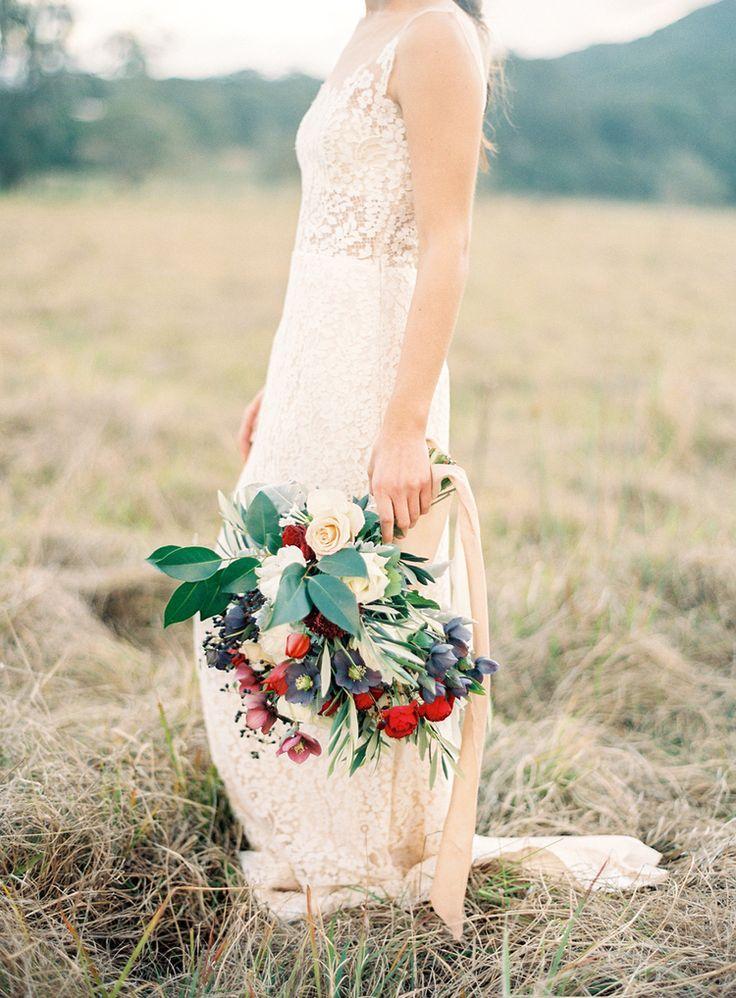 Wedding Inspiration, wedding dress, bouquet, flowers, olive leaf, organic, burgundy, fine art wedding, french.  Photography: Byron Loves Fawn Dress: George Wu Flowers: Rose Apple Flowers