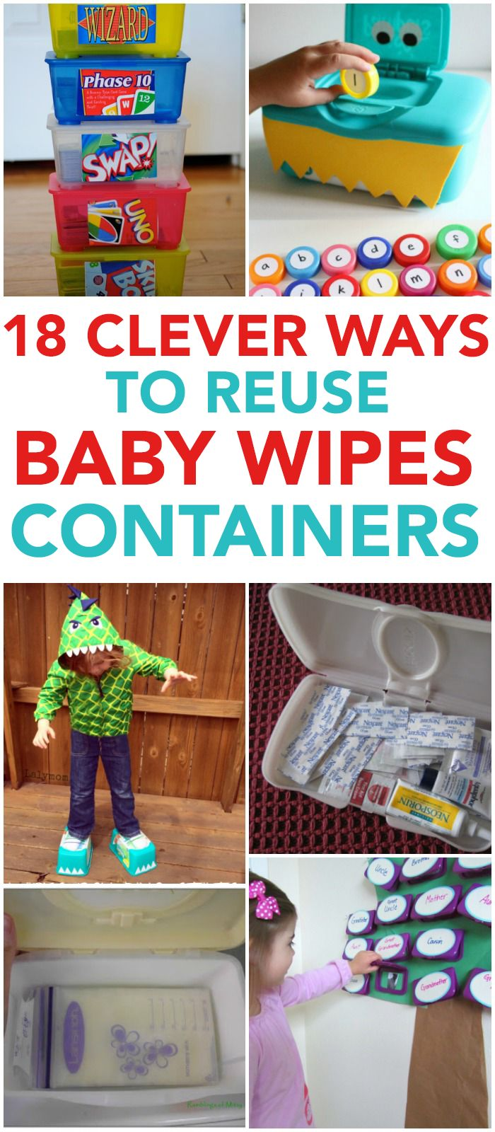 Clever and fun ways to reuse baby wipes containers. Fun hacks!