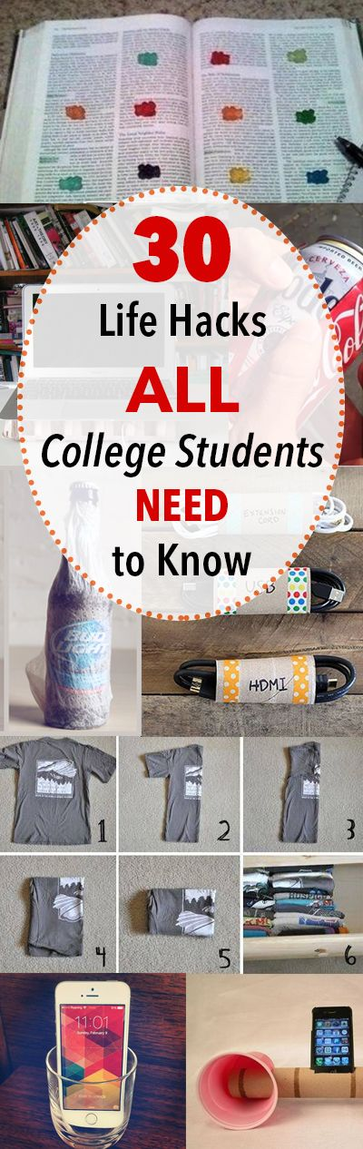 30 Life Hacks All College Students NEED to Know - Tips for dorm life that will make life more organized and easier!