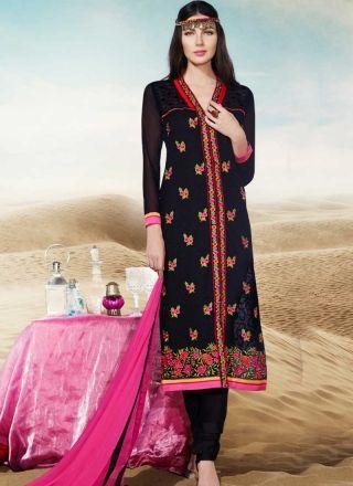 Beautiful Black Embroidery Booti Work Georgette Churidar  Suit http://www.angelnx.com/Salwar-Kameez/Churidar-Suits