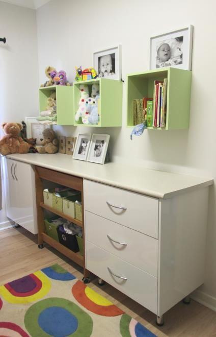 Drawers and cupboard with gloss white doors, gloss laminate top and room for a change table