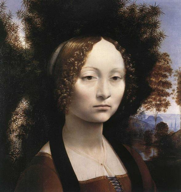 레오나르도 다빈치 -지네브라 데 벤치   이 초상화의 주인공인 지네브라 데 벤치는 15세기 후반 피렌체에서 미모와 지성으로 유명했던 여성이다. 그림은 다빈치의 스푸마토기법을 사용하기 이전 그의 화풍을 잘 보여주고 있다. 여성의 얼굴과 곱슬곱슬한 머리카락, 그리고 의복의 섬세한 표현이 두드러지며 드레스의 가슴부분의 얇은 천의 표현 또한 뛰어나다. 그녀의 뒤로는 먼 곳의 풍경이 희미하고 푸르스름하게 표현되어 대기원근법의 예를 잘 보여주고 있다. 그림의 뒤편에는 향나무 가지가 월계수, 종려나무 가지, 그리고 '아름다움이 미덕을 돋보이게 한다라는 글귀가 쓰인 리본에 둘러싸여 있다. 향나무는 이탈리아어로 지네프로로 '지네브라'라는 이름과 발음이 비슷하기 때문에 이 그림은 지네브라 데 벤치의 아름다움과 미덕을 칭송하는 것으로 해석된다. 또한 르네상스 시대 향나무는 정숙함을 상징하는 나무로 결혼을 기념하여 그려진 초상화에 어울리는 상징이라 하겠다.