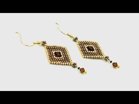 Beading4perfectionists: Increase / decrease peyote to get bicone in the middle tutorial. - YouTube