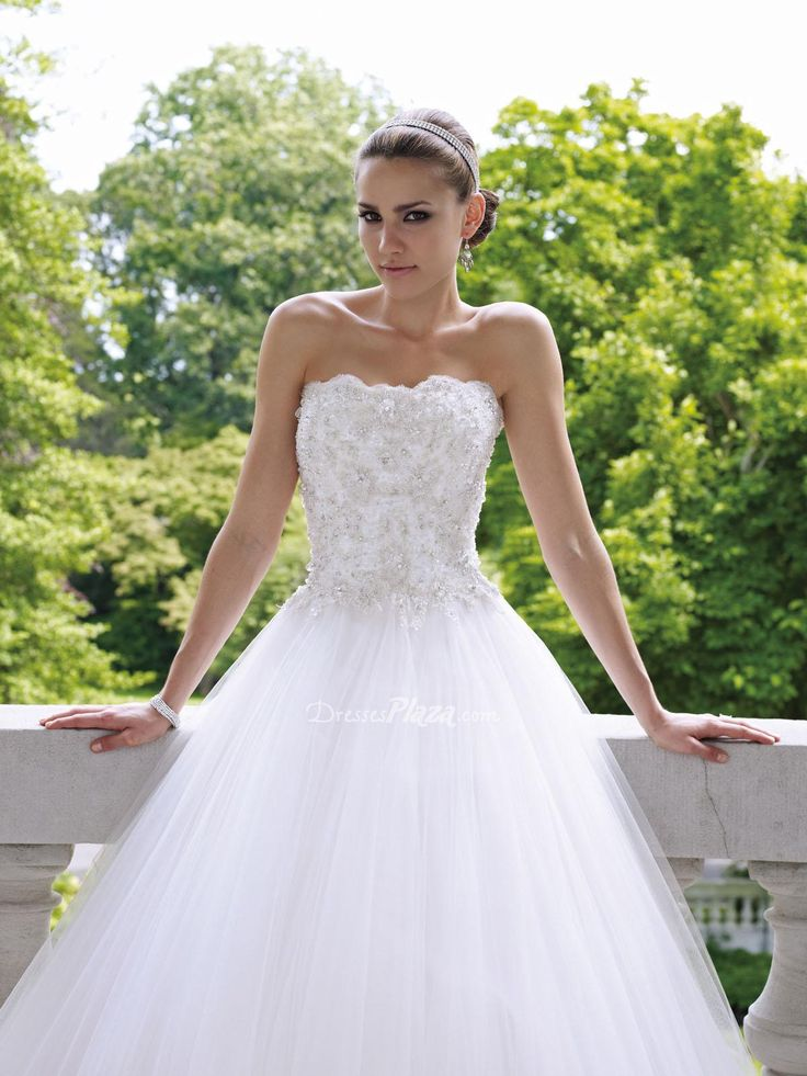 lace and tulle wedding dresses | ... Beaded Lace Bodice Tulle Ball Gown Scalloped Neckline Wedding Dress