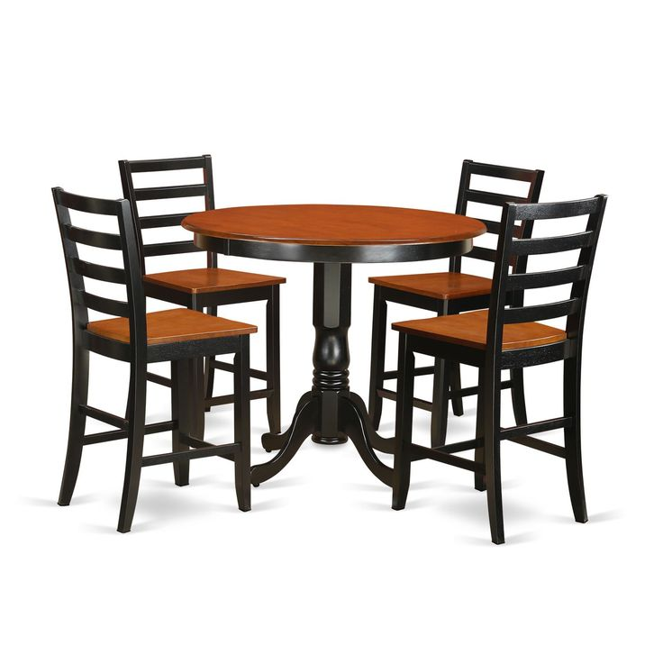traditional solid rubberwood 3piece counter height dining set with table and