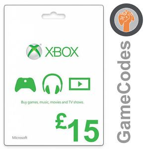 Microsoft XBOX Live Gift Card £ 15 GBP ONE 360 XBOX360 Points UK ENG no 10 no 25