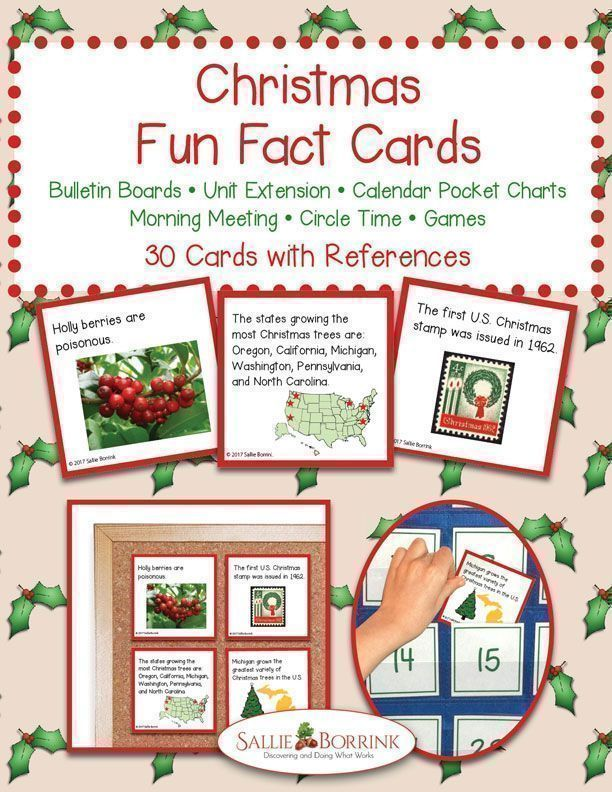 Learn fun facts about Christmas traditions, foods, and more with Christmas Fun Fact Cards. Great for #bulletinboard #circletime #morningtime #calendartime #christmasfacts