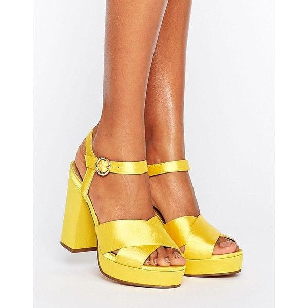ASOS HUMBLE Platform Sandals ($67) ❤ liked on Polyvore featuring shoes, sandals, yellow, platform shoes, peep toe block heel sandals, prom shoes, block heel sandals and peep toe platform sandals