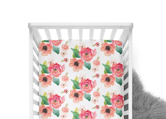 Fitted Crib Sheet Floral Dreams White Coral Crib Sheet by ModFox