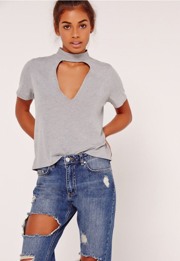 Choker T Shirt Grey - Missguided