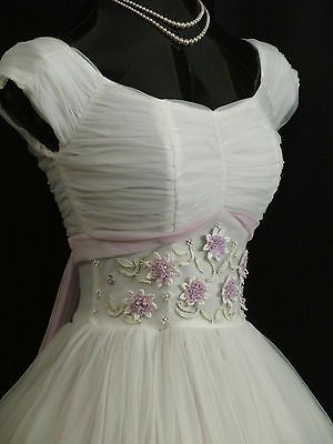 Vintage 50's 50s White Lilac Chiffon Organza Daisies Party PROM Wedding DRESS