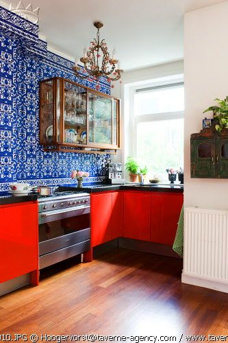 Red Kitchen Cabinets, Blue And White Walls