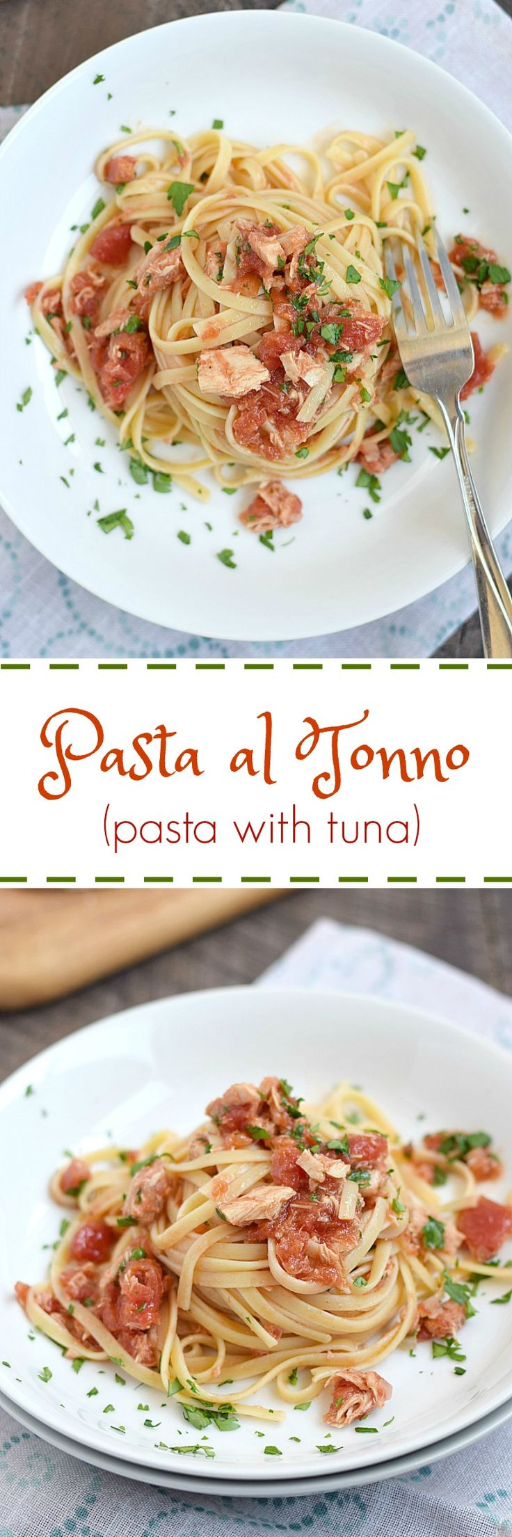 This classic Italian Pasta al Tonno is the perfect light meal that comes together in minutes with items in your pantry | cookingwithcurls.com