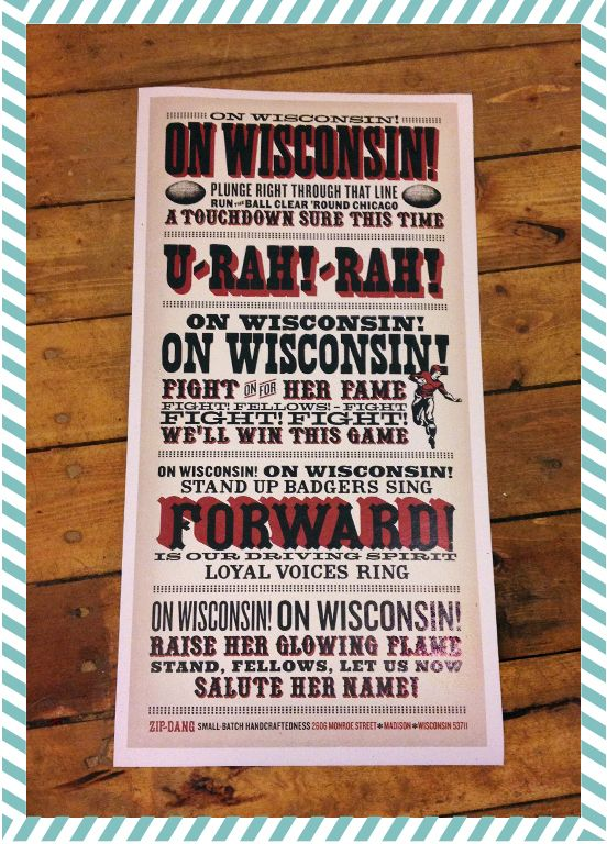 zip-dang - On Wisconsin ~ fight song print, $25.00 (http://www.zip-dang.com/on-wisconsin-fight-song-print/) #WIfootball #onwisconsin #wifightsong