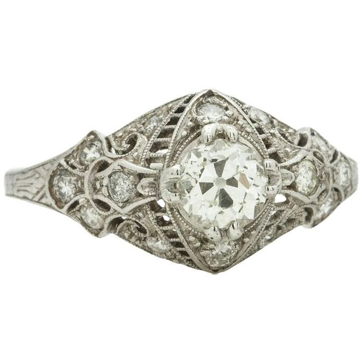 Vintage Engagement Ring Platinum 0.70 Carat OEC Diamond I-SI1, circa 1920s | From a unique collection of vintage engagement rings at https://www.1stdibs.com/jewelry/rings/engagement-rings/
