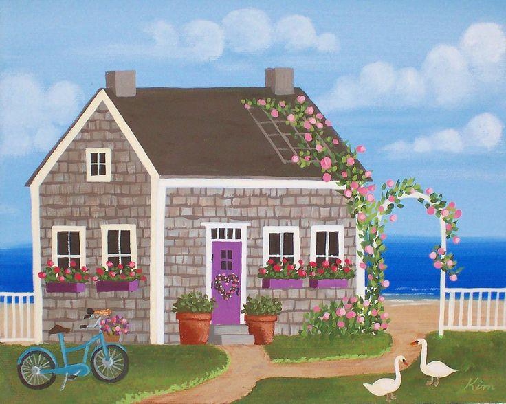 Folk Art Prints | Nantucket Cottage Folk Art Print by KimsCottageArt on Etsy
