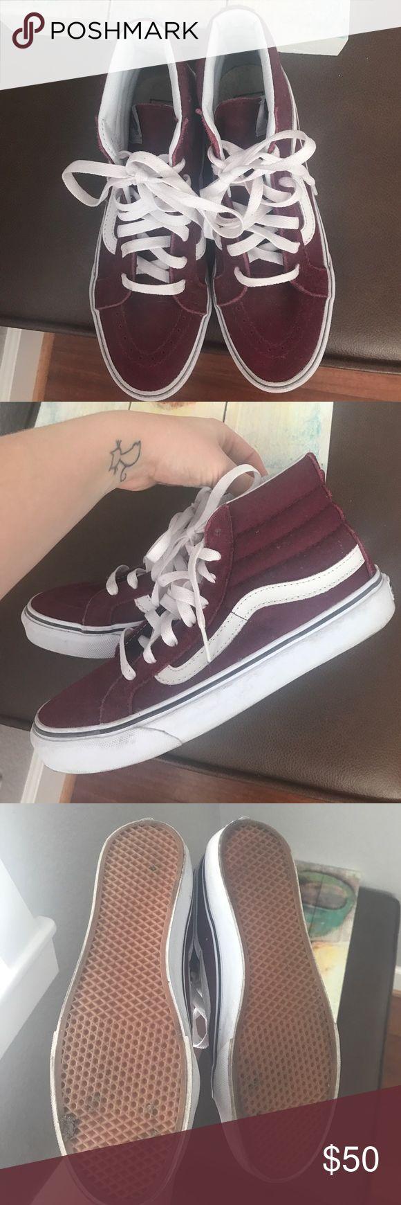 Skate high vans Maroon Only worn once! Brand new minus very minimum dirt Vans Shoes Sneakers