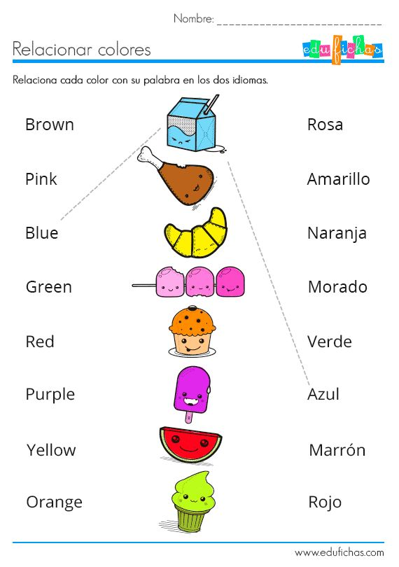 Ficha bilingüe para aprender los colores en inglés o español http://www.edufichas.com/actividades/idiomas/ingles/ficha-bilingue-para-aprender-los-colores/ #bilingual #learnspanish