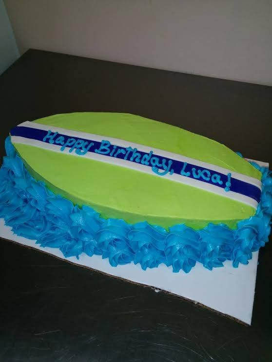 Surfboard cake for a boy's birthday