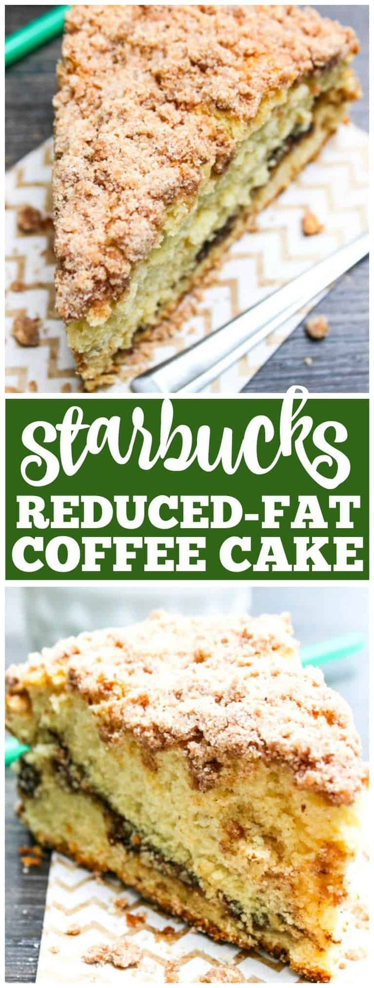 Reduced-Fat Cinnamon Swirl Coffee Cake - Cinnamon swirl coffee cake with crumb topping, it's just like the one they serve at Starbucks but even better! #starbucks #coffeecake #breakfast #brunch #breakfastrecipes