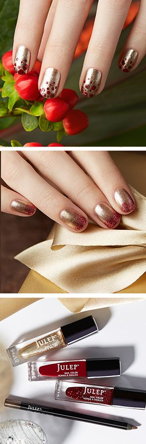 Get the polish colors used in these holiday nail looks in a free beauty box when you join Julep. On-trend colors. Full-sized products.  You're going to love it!  Offer ends 12/25/15.